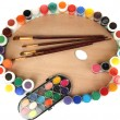 Wooden art palette with brushes for painting and paints isolated on white — Stock Photo