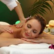 Beautiful woman in spa salon with stones getting massage, on green background - Stock Photo