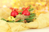 Beautiful christmas composition on yellow background — Стоковое фото