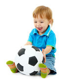 Cute little boy with football ball, isolated on white — Stock Photo
