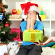 Christmas gift for little girl — Stockfoto