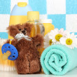 Baby cosmetics in bathroom — Stock Photo