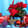 Royalty-Free Stock Photo: Beautiful poinsettia with christmas balls and presents on blue fabric background