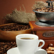 Cup of coffee, grinder, turk and coffee beans on brown background — Stock Photo #16951515