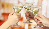 Corporate party martini glasses — Stock Photo