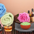 Spa setting  on  brown background - Stock Photo