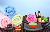 Spa setting on blue background — Stock Photo