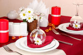 Elegant table setting in restaurant — Stok fotoğraf