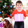 Little boy sits near Christmas tree with gift in hands - Stock Photo