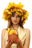 Beautiful woman with wreath and basket with barberry, isolated on white — Stock Photo