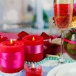 Table setting in honor of Valentine's Day close-up on room background — Stock Photo