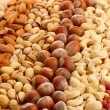 Assortment of tasty nuts, close up — Stock Photo #17181137