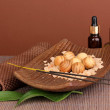 Aromatherapy setting on brown background — Stock Photo #17181317