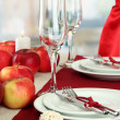 Beautiful holiday table setting with apples, close up — Stock Photo #17182657