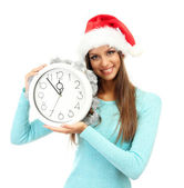 Beautiful young woman with clock, isolated on white — Stock Photo
