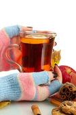 Mani tenendo la tazza di bevanda calda e foglie di autunno, isolati su bianco — Foto Stock