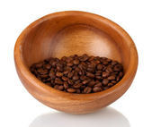 Coffee beans in wooden bowl isolated on white — Stock Photo