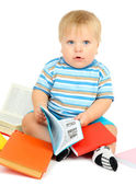 Little boy with multicolor books, isolated on white — Stock Photo