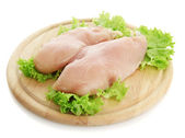 Raw chicken meat on cutting board, isolated on white — 图库照片