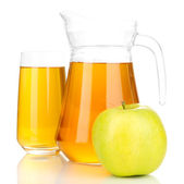 Full glass and jug of apple juice and apple isolted on white — Stock Photo