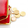 Female red wallet with coins isolated on white — Stockfoto