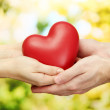 Red heart in woman and man hands, on green background — Stock Photo