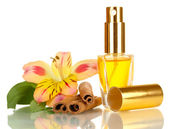 Women's perfume in beautiful bottle with flower and cinnamon isolated on white — Stock Photo
