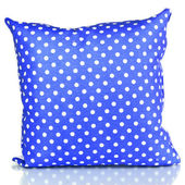 Blue bright pillow isolated on white — Stock Photo