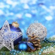 Christmas decoration on blue background — Stock Photo #17384737