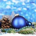 Christmas decoration on blue background — Stock Photo #17384741