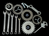 Machine gear, metal cogwheels, nuts and bolts isolated on black — Foto Stock