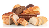 Fresh bread in basket isolated on white — Stock Photo