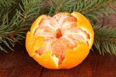 Tasty mandarine on wooden background — Stock Photo