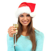 Beautiful young woman with glass of champagne, isolated on white — Stock Photo