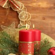 Two candles and christmas decorations, on wooden background - 