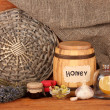 Honey and others natural medicine for winter flue, on wooden background — Stock Photo #17400435