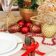Serving Christmas table close-up - Stock fotografie