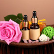 Spa setting on brown background — Stock Photo