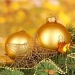 Christmas decoration on yellow background — Foto Stock