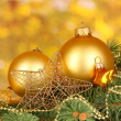 Christmas decoration on yellow background — Stockfoto