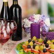 Canapes and wine in restaurant - Stok fotoraf