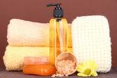 Impostare per cura un corpo su sfondo marrone — Foto Stock