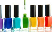 Group of bright nail polishes isolated on white — Stockfoto