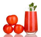 Glass of tomato juice isolated on white — Stock Photo