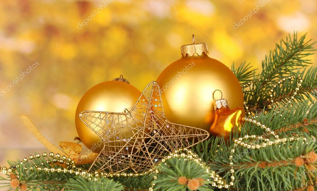 Christmas decoration on yellow background — Stock Photo #17406331