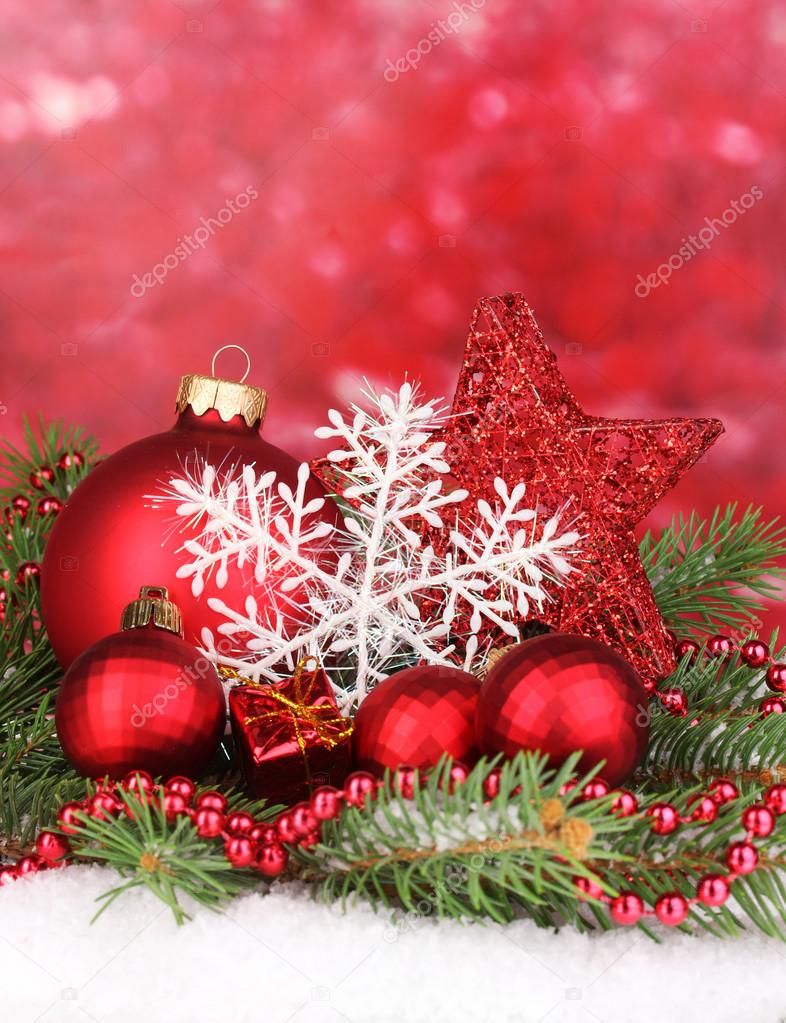 Christmas decoration on red background — Stock Photo #17406361