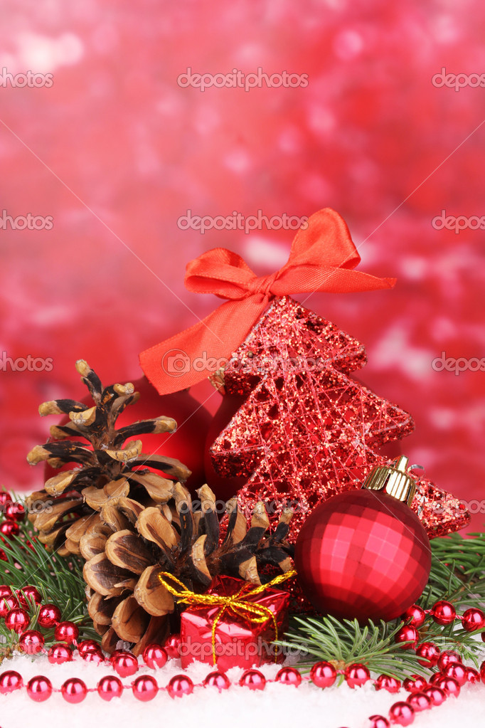 Christmas decoration on red background — Stock Photo #17406367