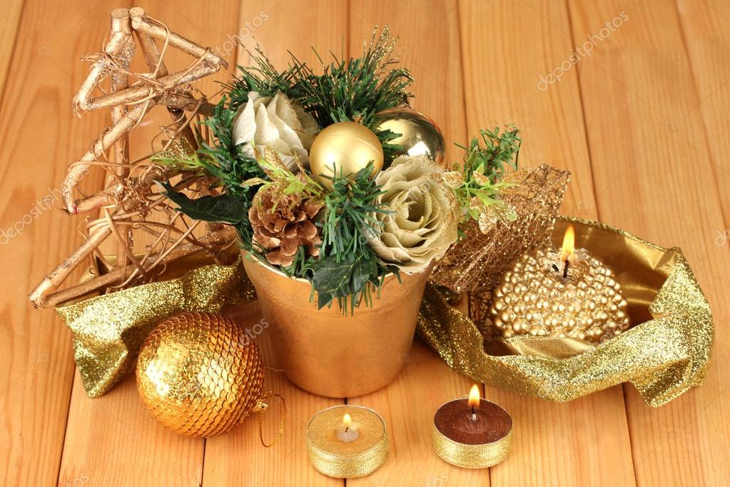 Christmas composition  with candles and decorations on wooden background  Stock Photo #17406997