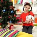 Little girl holding toy near christmas tree — Stock Photo #17593675