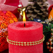 Christmas candle on serving Christmas table background close-up - Lizenzfreies Foto
